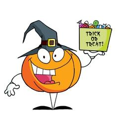 Cartoon Character Pumkin A Bag Of Candy vector image vector image