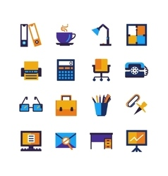 Color Office Isolated Icons Set vector image