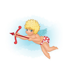 cute cupid on a background of clouds vector image