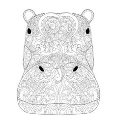 Head hippopotamus coloring for adults vector image