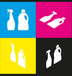 household chemical bottles sign white vector image vector image