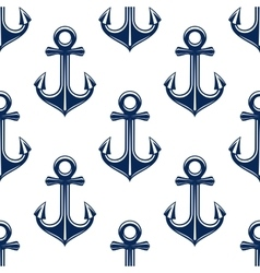 Retro anchors blue seamless pattern vector image vector image
