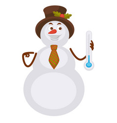 Snowman in hat with holly plant holds thermometer vector