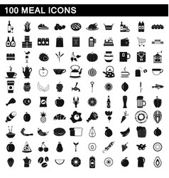 100 meal icons set simple style vector image vector image