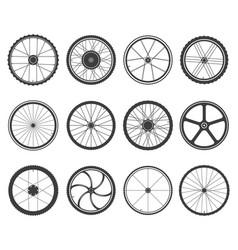 bicycle wheels set vector image