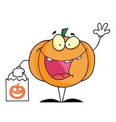 Character Halloween Happy Pumkin Bag vector image vector image