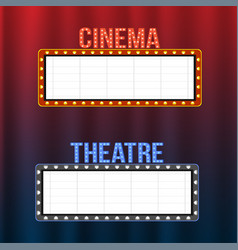 cinema and theatre signboards on blue and red vector image