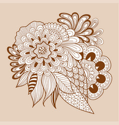 doodle art floral composition henna floral tattoo vector image vector image