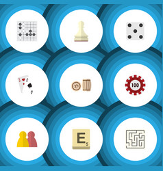flat icon play set of gomoku poker pawn and vector image vector image