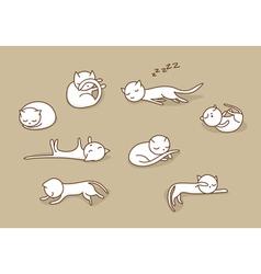 sleeping cats set vector image