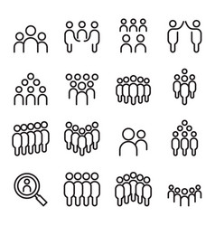 team people group human staff icon set in thin vector image vector image