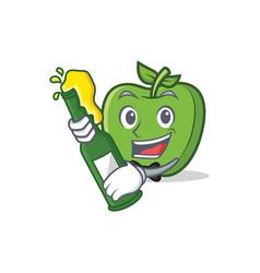with beer green apple character cartoon vector image vector image