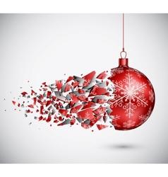 Broken red christmas ball vector