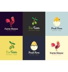 Fresh farm logos set labels for urban vector image vector image