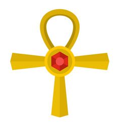 golden ankh symbol icon isolated vector image