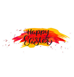 happy easter text on watercolor red blots hand vector image