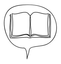 Monochrome contour with book in bubble speech vector