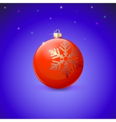 Red Christmas ball with snowflake over starry vector image