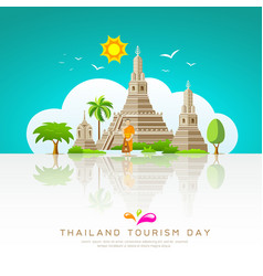 thailand tourist landmarks background vector image