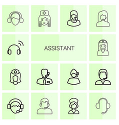 14 assistant icons vector