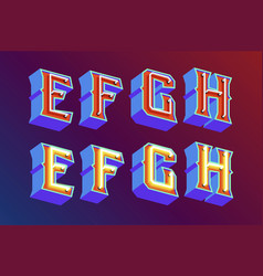 3d vintage letters with neon lights vector image