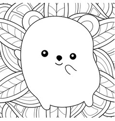 adult coloring bookpage a kawaii bear on the vector image