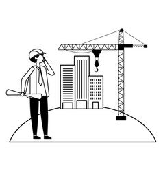 architect with blueprints buildings crane outdoors vector image