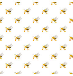 bee with bucket of honey pattern vector image