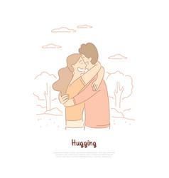Boyfriend and girlfriend hugging friends vector