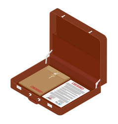 brown briefcase with top secret documents vector image