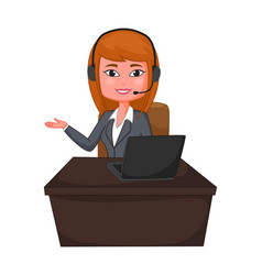 business woman a customer support with headphones vector image