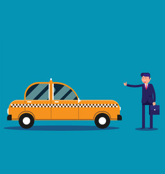 businessman calling taxi concept business taxi vector image