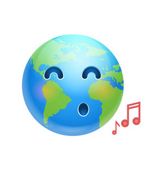 Cartoon earth face singing icon funny planet vector