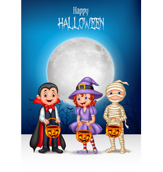 cartoon kids with halloween costume holding pumpki vector image