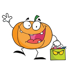 Cartoon Pumkin With Bag vector