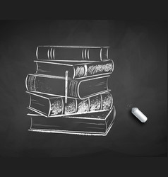 chalk drawn pile books vector image