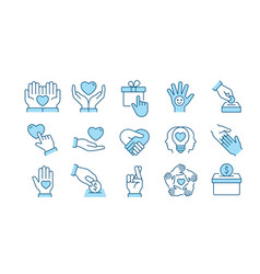 Charity icon set collection donate trust vector