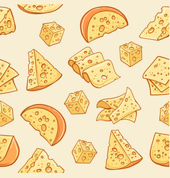 Cheese doodle pattern vector