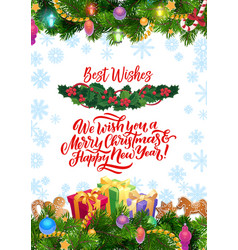christmas ornaments new year wish decorations vector image