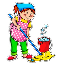 Cleaning girl vector