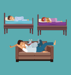 Colorful set scene man sleep in sofa and children vector