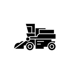 combine harvester black icon sign on vector image