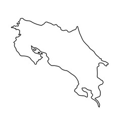 costa rica map of black contour curves of vector image