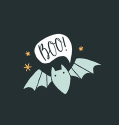 cute and scary bat and text bubble halloween card vector image