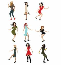 dancing party girls vector image vector image