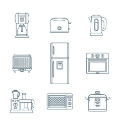 dark outline various kitchen devices set vector image