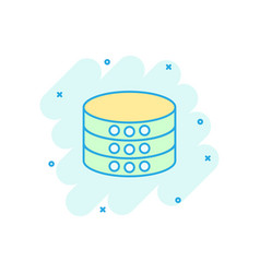 Data center icon in comic style server cartoon on vector