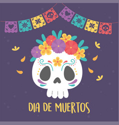 day dead catrina skull flowers and bunting vector image