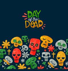 Day dead cute watercolor mexican cartoon card vector
