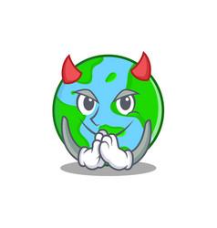 Devil world globe character cartoon vector